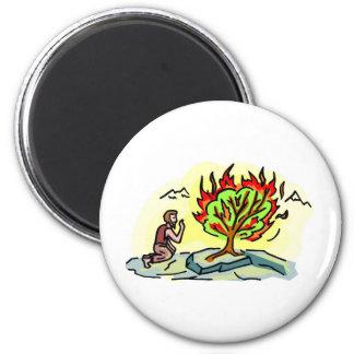Moses and burning bush Christian artwork Magnet
