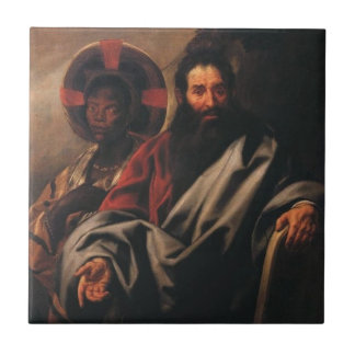 Moses and his ethiopian wife small square tile