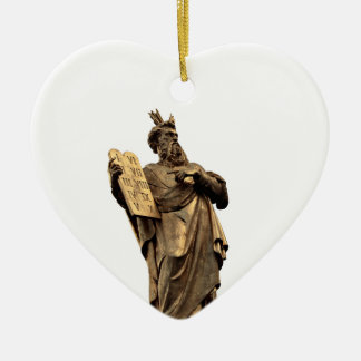 moses and ten commandments golden ceramic ornament