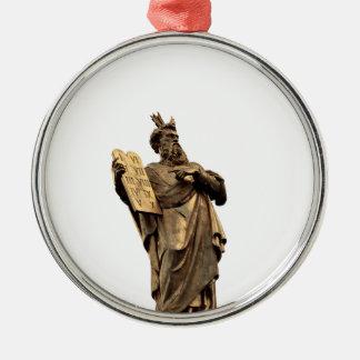 moses and ten commandments golden metal ornament