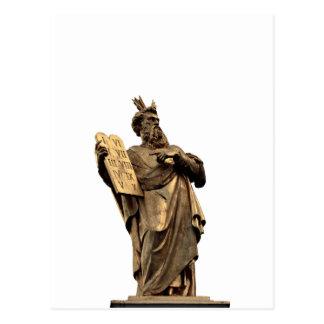 moses and ten commandments golden postcard