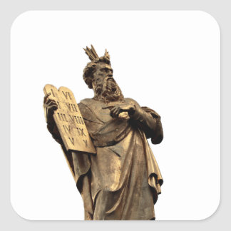 moses and ten commandments golden square sticker