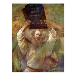 Moses with the commandments by Rembrandt Postcard