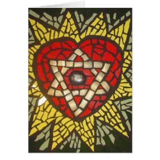 Mosiac Glowing Heart Star of David in Green Greeting Card