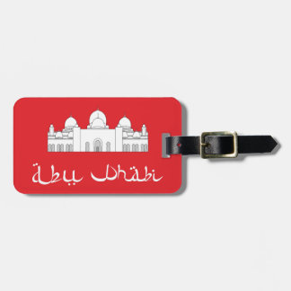 Mosque Abu Dabi on red Luggage Tag w/leather strap