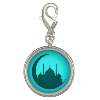 Mosque background silver round Charm