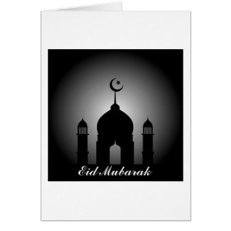 Mosque dome and minaret silhouette card