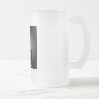 Mosque dome and minaret silhouette frosted glass beer mug