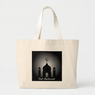 Mosque dome and minaret silhouette large tote bag
