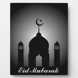 Mosque dome and minaret silhouette plaque
