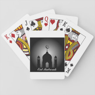 Mosque dome and minaret silhouette playing cards