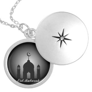 Mosque dome and minaret silhouette silver plated necklace