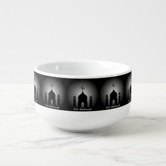 Mosque dome and minaret silhouette soup mug