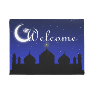 Mosque Silhouette at Night Welcome Door Mat