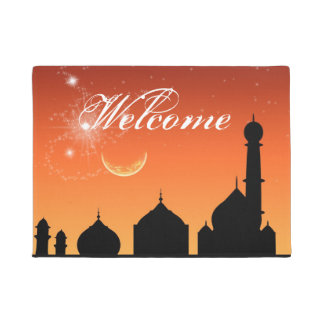 Mosque Silhouette Evening Sky - Door Mat