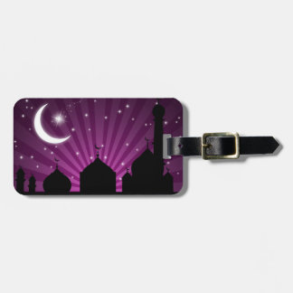 Mosque Silhouette Purple Night - Luggage Tag