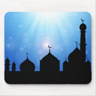 Mosque Silhouette with Sunburst - Mousepad