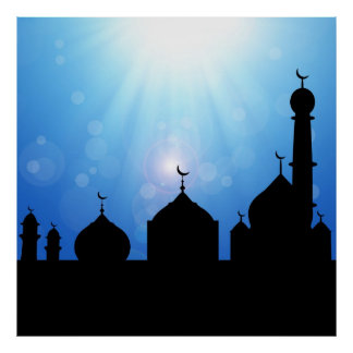 Mosque Silhouette with Sunburst - Poster