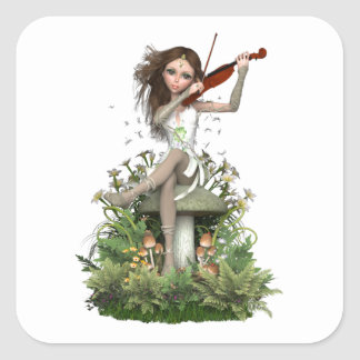 Moss Agate Fairy ~ Melody Square Sticker
