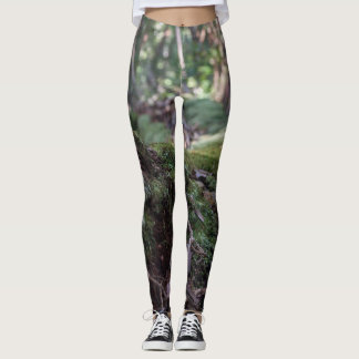 Moss covered fallen tree in a forest leggins leggings