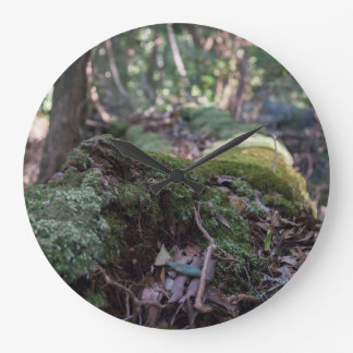 Moss covered fallen tree in a forest wall clock