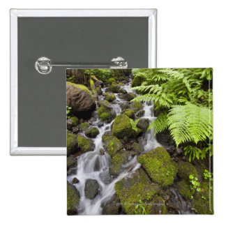 Moss covered rocks with blurred water and ferns 15 cm square badge