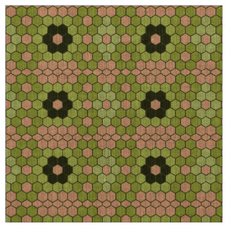 Moss Green and Peachy Pink Mosaic Fabric