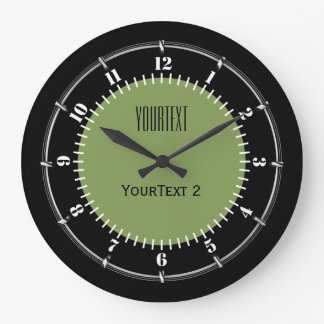 Moss Green Background Solid Color Personalize this Large Clock