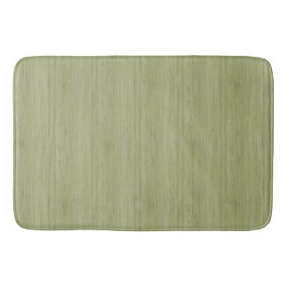 Moss Green Bamboo Wood Grain Look Bath Mats
