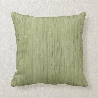 Moss Green Bamboo Wood Grain Look Throw Pillow