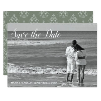 Moss Green  Damask Save the Date Card
