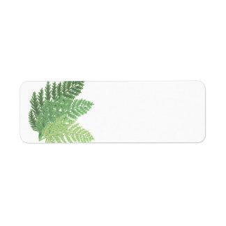 Moss Green Ferns Return Address Label
