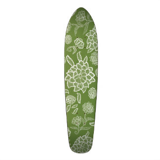 Moss Green Floral Flower Lace Lacy Flower Pattern 21.3 Cm Mini Skateboard Deck