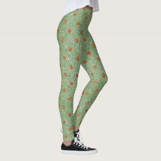 Moss Green & Gold Polka Dots Yoga Leggings