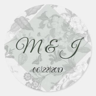 Moss Green Modern Floral Wedding Classic Round Sticker