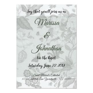 Moss Green Modern Floral Wedding Inviations Card