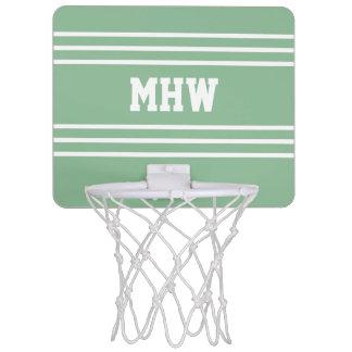 Moss Green Stripes custom monogram mini hoop