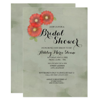 Moss Green w/ Red Flowers Watercolor Bridal Shower Card