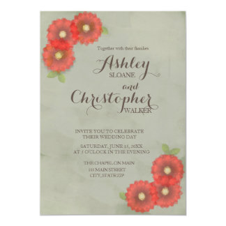 Moss Green with Red Flowers Watercolor Card