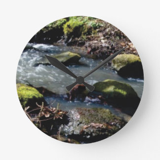 moss in the creek round clock