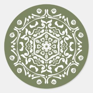 Moss Mandala Classic Round Sticker
