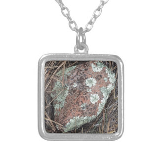 Moss rock lichen silver plated necklace
