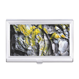 Mossy grey rocks photo business card holder