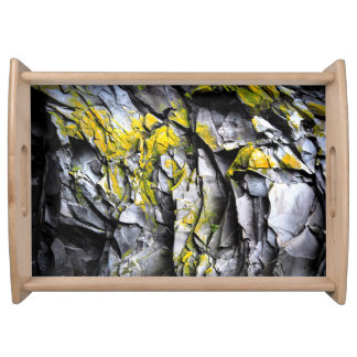 Mossy grey rocks photo serving tray