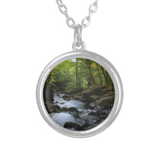 mossy stream in the forest silver plated necklace