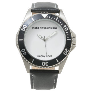 """""""MOST AWESOME DAD"""" Stainless Steel Black Leather Wrist Watch"""