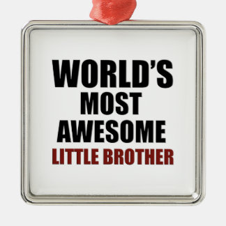 Most awesome little brother Silver-Colored square decoration