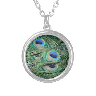 Most Beautiful Peacock Feathers Bold Blue Eyes Round Pendant Necklace
