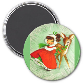 Most Beautiful Vintage Christmas Deer & Girl Magnet