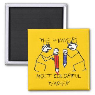 Most Colorful Teacher Stick Figures Magnet